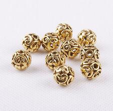 10Pcs 12mm Tibetan Silver Antique Golden Round Ball Hollow Spacer Beads DIY