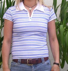 Ladies Manga Tshirt Retro Sexy Womens Collar Polo Stripe T-Shirt 10-12 Medium