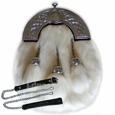 GENUINE WHITE RABBIT FUR & LEATHER SCOTTISH SPORRAN &CHAIN BELT KILT ACCESSORIES
