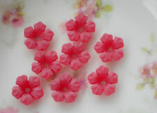 #713 Vintage Flower Beads Lucite 13mm Flowers Matte Red Posey Bead Caps NOS