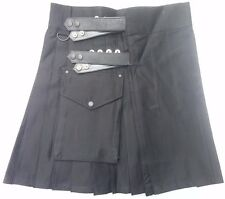 Ladies Black Leather Straps Sport Fashion Cotton Utility Kilt, Adjustable Sizes