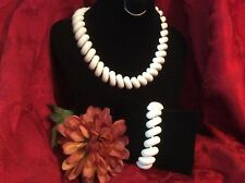 Vintage Jewelry Beautiful Pat Pend NAPIER White Enamel Links Necklace & Bracelet