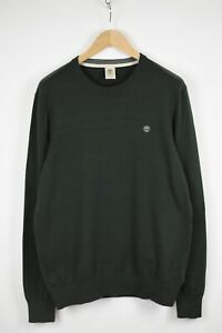 TIMBERLAND A1KRR Men's LARGE Green Plain Crew Pullover Sweater 33468-GS