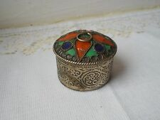stunning vintage French silver plated metal  pill box / trinket box