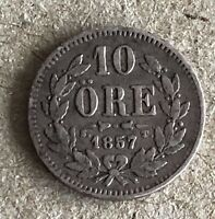 Kingdom Of Sweden Oscar I Silver 1857 10 Ore RARE KM#683,