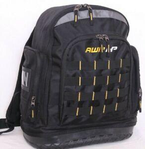 AWP HP Black Hard Bottom Zip Padded Shoulder Straps Work Tool Bag Backpack
