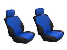 Polyester 4 Pcs Low Back Blue & Black Seat Covers for Auto Cars SUVS -Front Pair