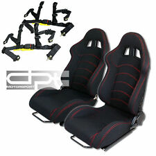 RECLINABLE RED STITCH BLACK CANVAS RACING BUCKET SEATS+SLIDERS+4PT BUCKLE BELTS