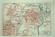 Original 1908 City Map of Posen, Germany by Meyers. Antique