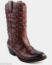 LUCKY BRAND Denim Madonna Studded SW Leather Western Cowboy Boots NEW $259 6 M
