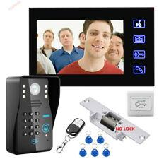 """Password Video Door Phone Intercom Doorbell+IR Camera+Electric Strik Lock 7""""RFID"""
