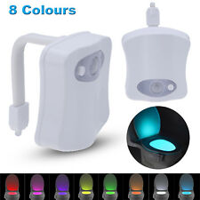 8 Color Toilet Bathroom LED Night Light Human Motion Activated Seat Sensor Lamp
