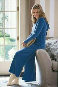 Soft Surroundings Hugs Velour Robe Lounge Gown Comfort Hooded Blue Pockets