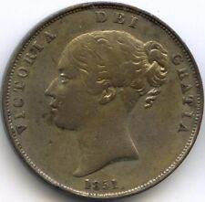 ROYAUME-UNI VICTORIA (1837-1901) PENNY 1851 BELLE PATINE KM 739