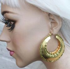 AZTEC DOOR KNOCKER ROUND GOLD TONE CREOLE HOOP LARGE EAST LONDON EARRINGS