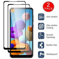 For Samsung Galaxy A21 HD Clear Full Cover Tempered Glass Screen Protector Film