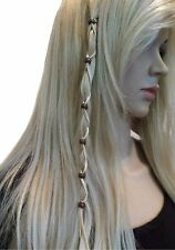 Brown Beads Tan Suede Leather Hair Ties Wraps Hair Jewelry Suede Ponytail