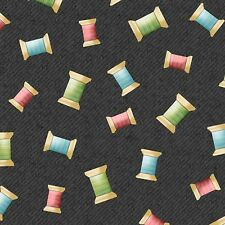 Sew What  Quilt Fabric  Thread Spools Black Sewing Novelty by the 1/2 yard