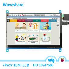 """Waveshare 7"""" HDMI Raspberry Pi Display 1024x600 Touchscreen LCD Pi 3/B/B+/2 HD"""