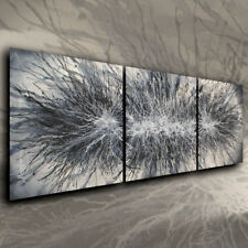 Black and White Original Painting Abstract Art Contemporary Mix Lang Certified