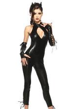 Womens black fancy dress costume panter pvc wet look catsuit Size 10 & 12