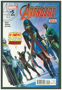 Avengers #5 VF/NM Marvel 2016 Female Thor, Ms. Marvel, Black Capt. America Cover