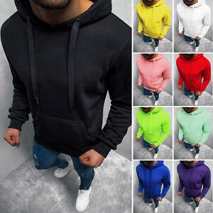 Kapuzenpullover Hoodie Sweatshirt Pullover Unifarben Basic Classic Herren OZONEE
