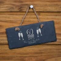 Personalised Slate 60th Anniversary Plaque Gift SL-RC40