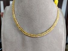 """16"""" Natural Yellow Sapphire 3 mm Rondelle Beads Double layer Handmade Necklace"""