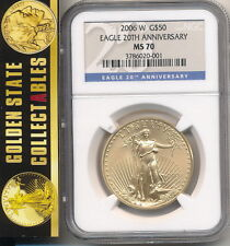 2006 W $50 BURNISHED GOLD EAGLE 20TH ANNIVERSARY SET NGC MS70 NEW HOLDER !!
