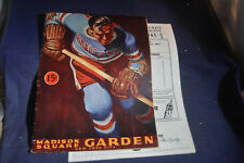 1944 NEW-YORK-RANGERS:DETROIT-RED-WINGS-PROGRAM-with INSERT Cover->Ted-Lindsey