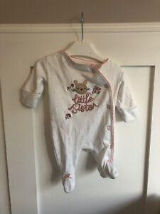 Next Baby Girl Newborn Little Sister White Sleepsuit