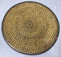 "Wicker Woven Brass Edge Trivet Round Tray India 14"""