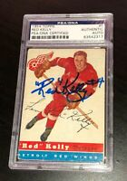 RED KELLY SIGNED TOPPS 1954 HOCKEY CARD #5 PSA/DNA 83542317 Auto RED WINGS