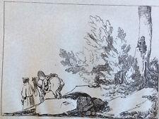 Très beau Grand Dessin encre original 1850 signé cheval