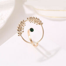 Women Girls Open Leaf Hollow Rings Gold Toned Ring Wedding Party Jewelry SK