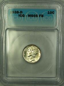 1938-D Silver Mercury Dime 10c Coin ICG MS-66 FB Full Bands GEM BU