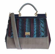 NWT DOLCE & GABBANA Multicolor Caiman Snakeskin Leather SICILY Hand Bag Purse