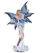 """Large Scale Fairy With Snowy Owl Holding Crystal Wand Figurine 23"""" High Statue"""