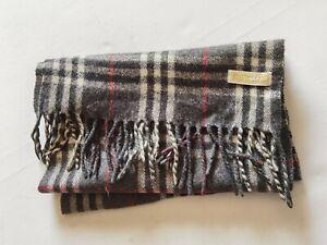 "Vtg Burberry London Dark Grey 100% Wool Scarf 52""X 12""  Made In Scotland"