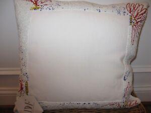 Diane Von Furstenberg White Beaded Large Throw Deco Pillow NWT