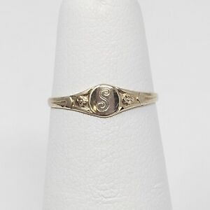 10k Yellow Gold Child's Signet Ring Art Deco Vintage Style S Monogram Size 3