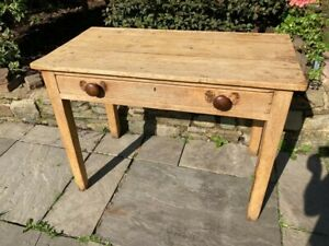 Antique Victorian Pine Farmhouse Kitchen Table / Baking Table With Drawer c.1870