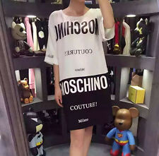Women's Dress T Shirt  Mos Cotton Tee Milano Black White Characters (Size L)