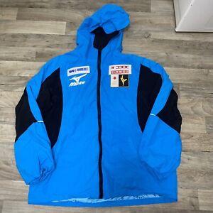 Vintage Mizuno JSF Olympic Figure Skating Windbreaker Jacket 2XL XXL Hooded Blue