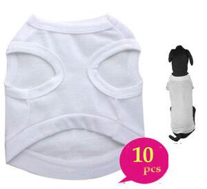 10xPlain Dog Shirt Cotton Pet Clothing Blank Puppy Tees T Shirt Tank Clothes
