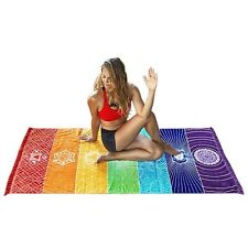 CHAKRA In/Outdoor Pareo Mandala Tapestry Rainbow Stripe Grassland Blanket Wrap