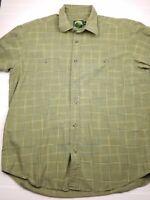 Cabelas Mens short Sleeve Shirt Button Up Plaid Cotton Shirt Size large green L7