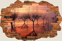 3D Hole in Wall Red Sunset Reflection View Wall Sticker Art Decal Wallpaper S75