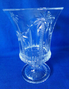 Vintage Godinger Shannon Crystal Palm Tree  ~ Vase ~ Hurricane Candle Holder